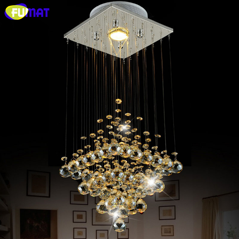 FUMAT K9 Crystal Chandelier Modern Square Stair Corridor Lights Suspension Living Room Dining Room LED K9 Crystal Ceiling Light