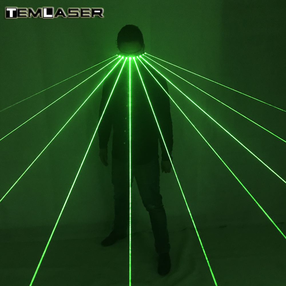 Free shipping 532nm Green Laser Glasses For Pub Club DJ Shows With 10Pcs Green Laser LED Stage Glasses