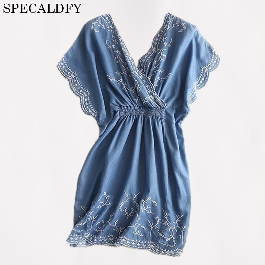 2018 Summer Tencel Denim Dresses Women Vintage Floral Embroidery Casual Jeans Dress Casual Shirt Dress Vestidos Robe Femme
