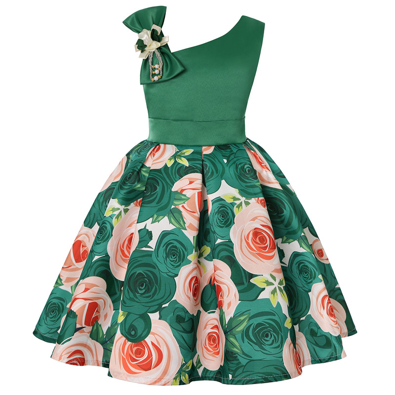2019 new children's dress slant shoulder girl dress rose print dress dress party children's wear 4