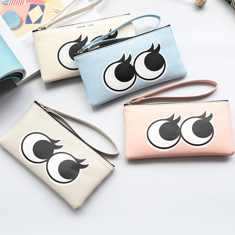 VEEVAN spring 2016 hot new lady Korean cartoon eyes zipper large capacity zero wallet mobile phone bag hand bag