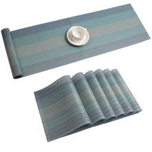 METABLE Set of 6 Placemats with Table Runner Set Washable Heat Resistant Woven Vinyl Placemats and Runner  for Dining Table Wipe