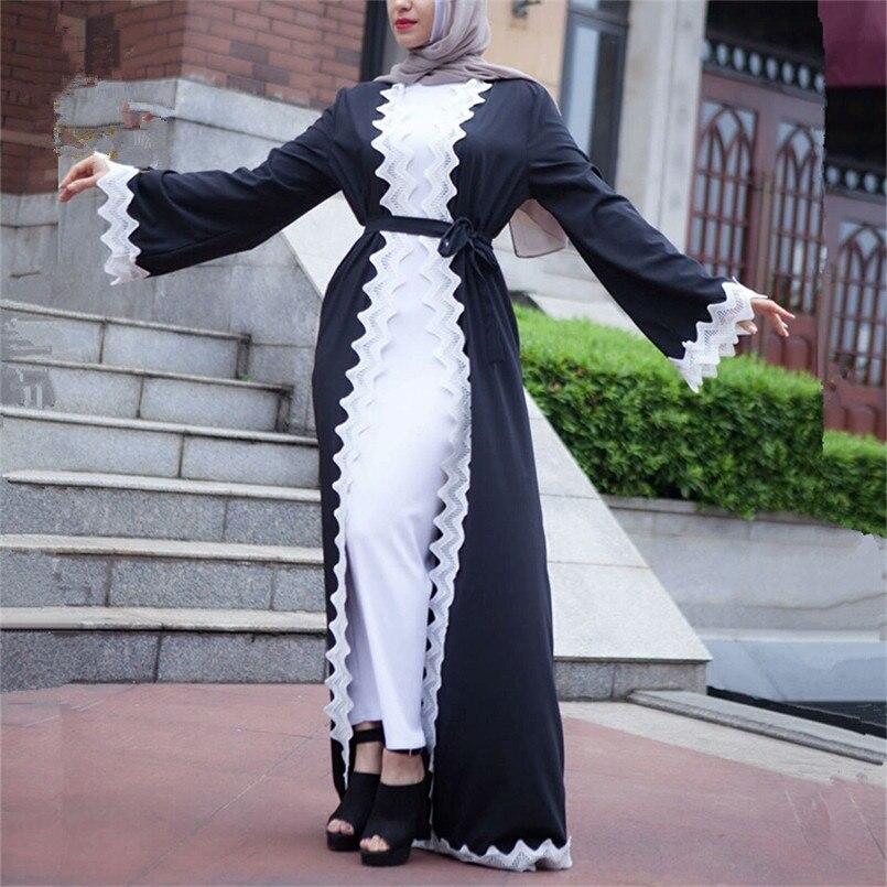Grande taille dames contraste couleur dubaï caftan robe 2018 nouveau moyen-orient dubaï noir et blanc dentelle Cardigan Robes lâche Outwear