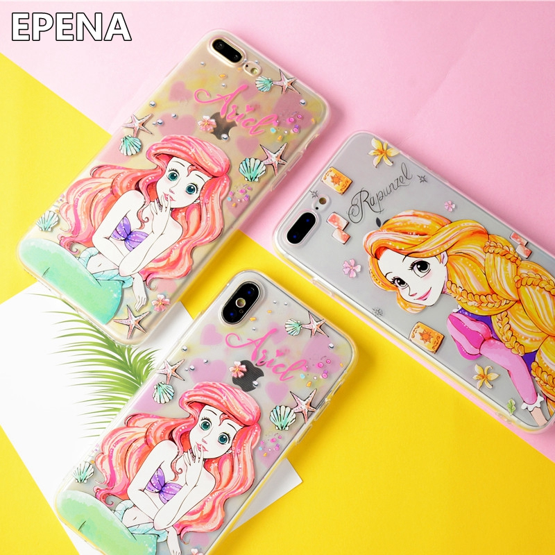 EPENA Fairy Ariel Alice Princess Mermaid Case for iPhone X 8 7 Plus 6 6S Plus Back Cover Coque Soft Paiting TPU Capa Funda