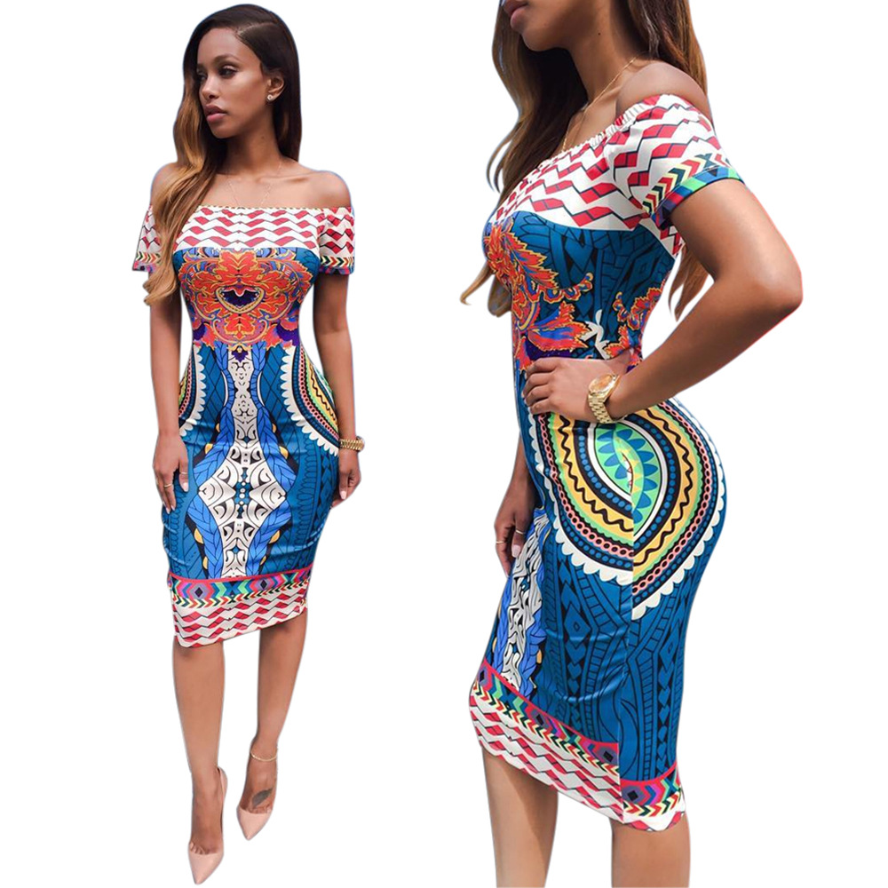 278d90becb94 2016 Summer Women Traditional African Print Sexy Short Sleeve Slash Neck  Off Shoulder Dashiki Geometric Print Blue Dress-in Dresses from Women s  Clothing on ...