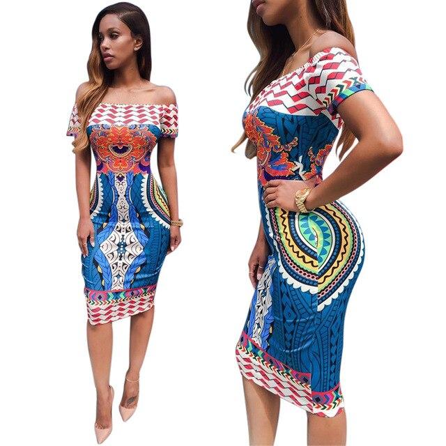 5e0ce943269b 2016 Summer Women Traditional African Print Sexy Short Sleeve Slash Neck  Off Shoulder Dashiki Geometric Print Blue Dress