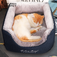 Hoopet Cat Bed Dog Winter Bed Warm Puppy Home Sleeping Kennel Teddy Comfortable House