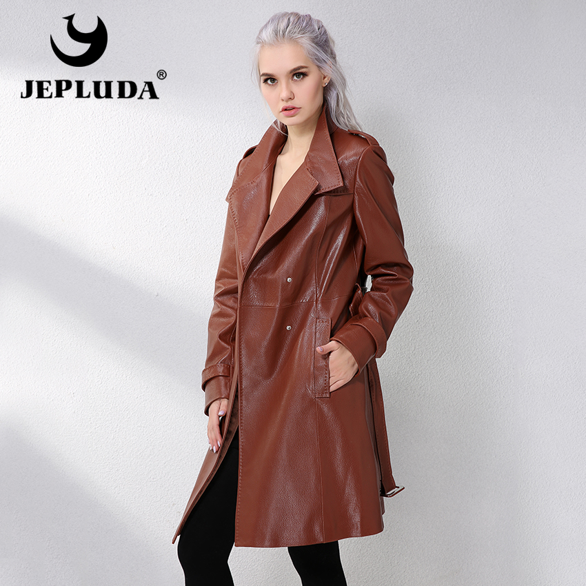 JEPLUDA Spring Women Jacket Genuine Sheepskin Leather Lambskin Coats Real Genuine Leather Jacket and Coats For Women Commuting