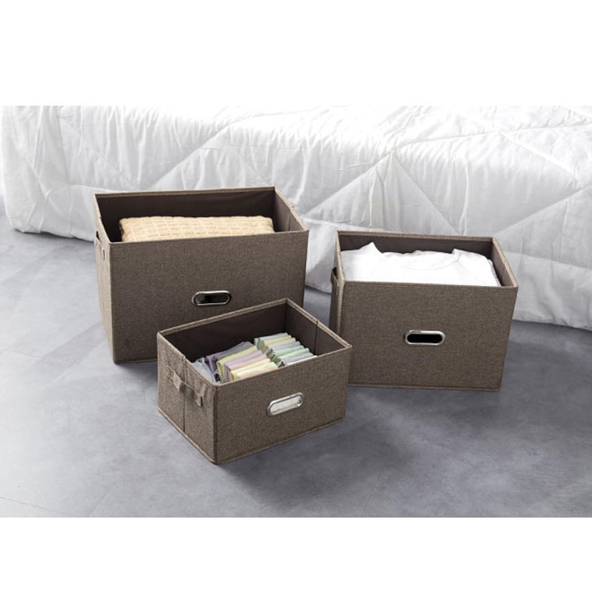 Acheter Café S/M/L Pliable Signature Coton Tissu Organisateur Cube De Rangement Box Pour Des Vêtements Quilt Maison De Stockage Collecte boîtes Bacs de Boîtes De Rangement fiable fournisseurs