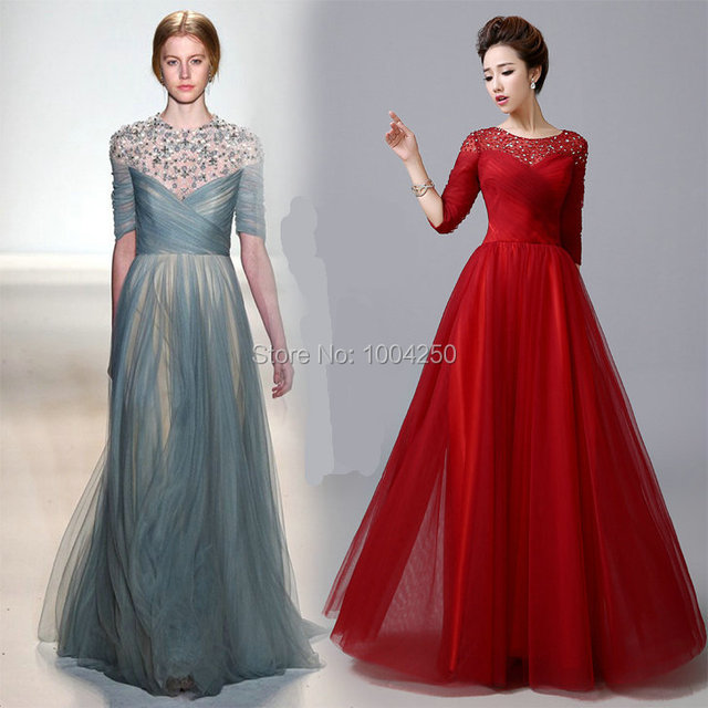 75feb0cff92 AP068 Elegant Grey/Red Evening Dresses Charming Scoop Half Sleeves Beaded Long  Evening Dresses Long Prom Dresses Party Gown