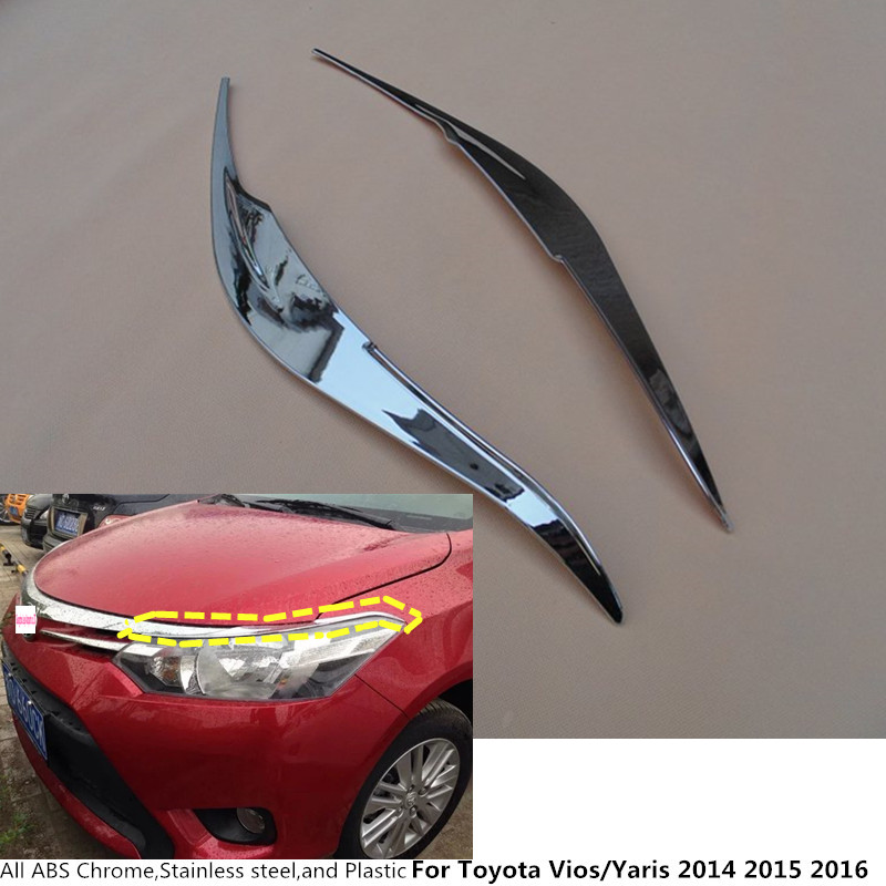 For Toyota Vios/Yaris/sedan 2014 2015 2016 front head Light lamp hood Molding detector frame stick ABS Chrome cover trim 2pcs
