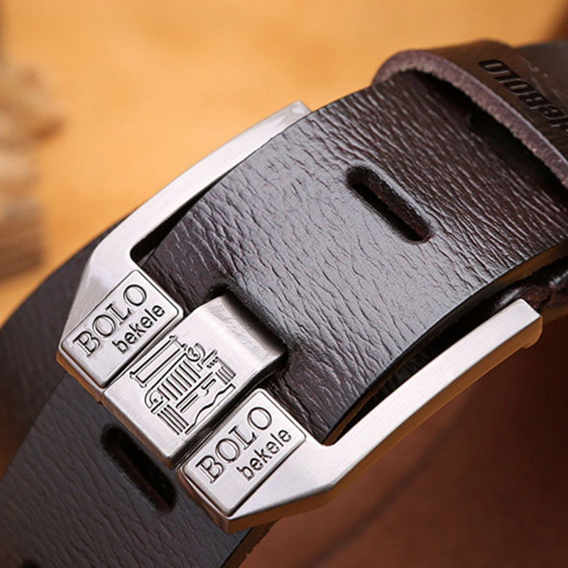 Luxury Belt Men's Belts Pronged Buckle Man's Genuine Leather Strap For Jean High Quality Wide Brown Color Fashion Designer Belt