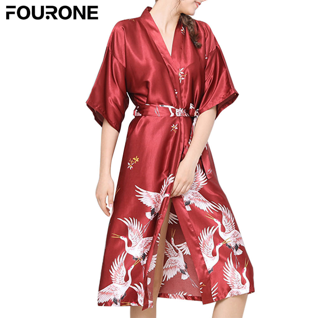 Women Sexy Printing Nightgown Silk Robes Lingerie Girl Sleep Wear Long Satin Bathrobe Bath Robe Sleepwear