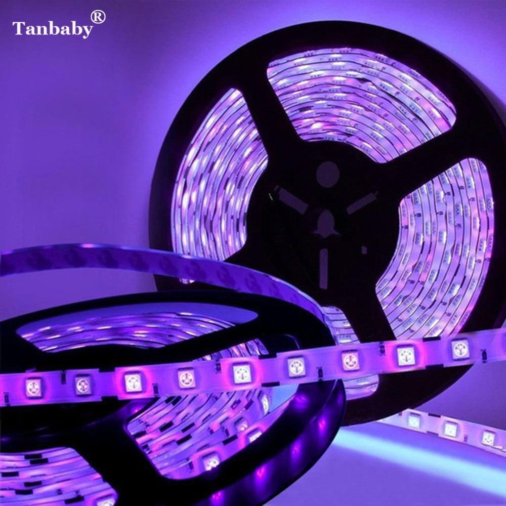 Tanbaby 60LED/M LED Strip Light Purple Color 3528 SMD Flexible LED Stripe Rope DC12V Car Auto Light Home Deco Ribbon Waterproof