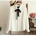 Мода женский элегантный галстук-бабочку белые блузки Шифон питер пэн воротник повседневная рубашка Дамы топы школа блузка Женщины Плюс Размер M63