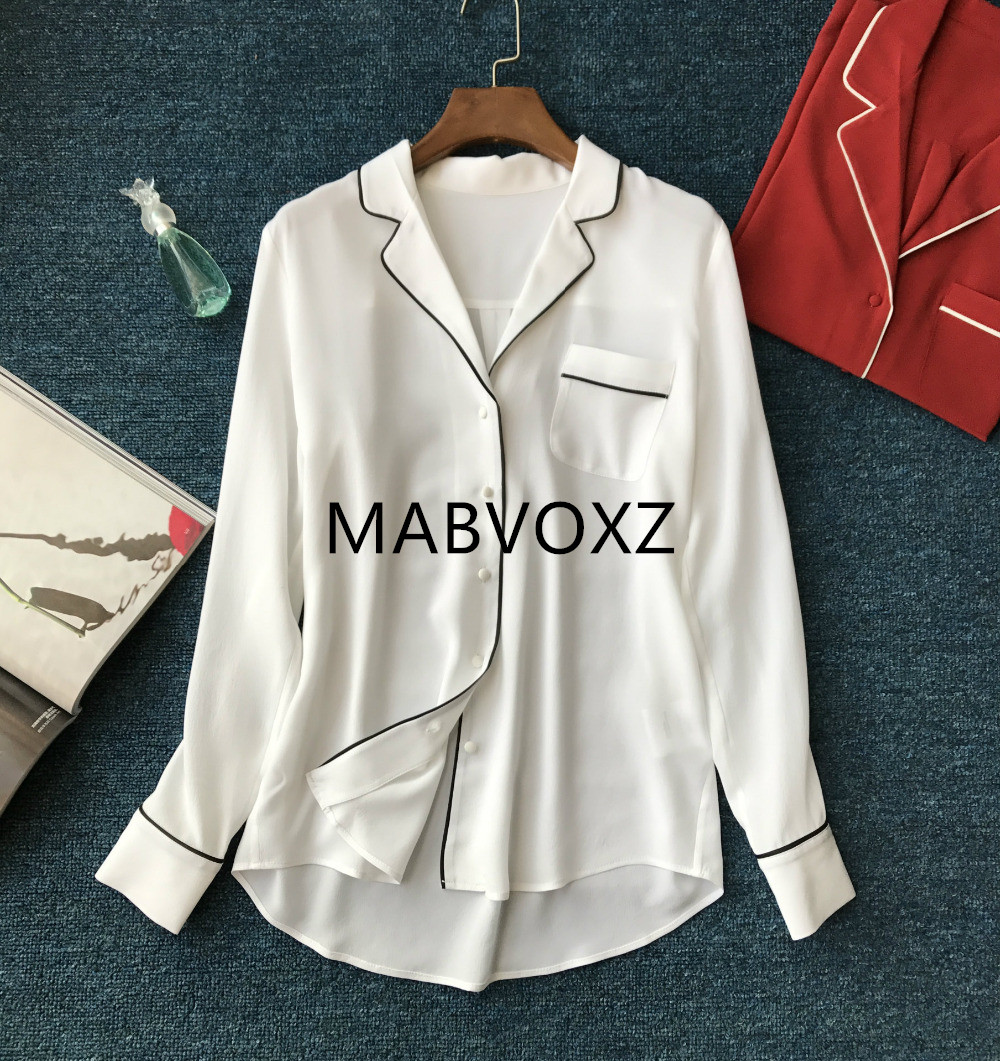 100 Silk White Red Long Sleeve Blusa Feminina Fashion Solid Women Pajama Tops With Front Pocket