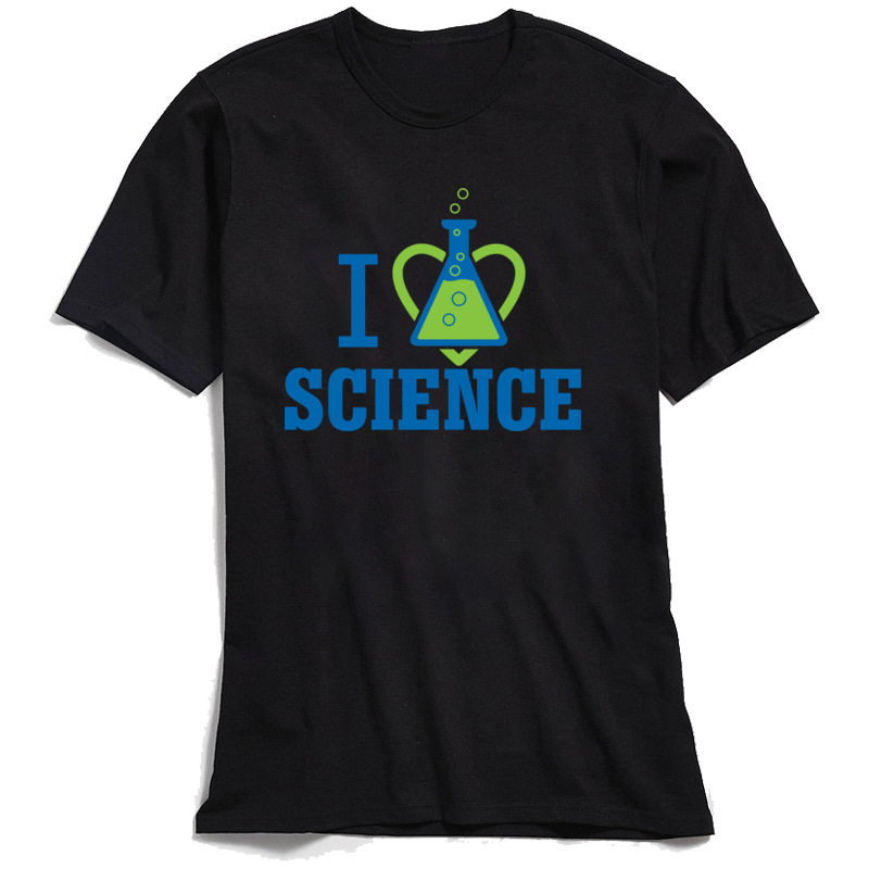 New Coming Men's Tops Tees I LOVE SCIENCE Summer T-Shirt 100% Cotton Short Sleeve Unique Tops Tees Round Neck Free Shipping I LOVE SCIENCE black