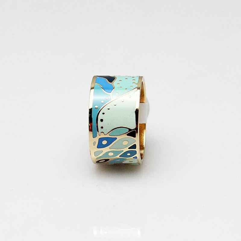 Spring Sky Blue River Stream Design Enamel Jewelry Ring ...