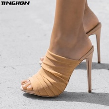 TINGHON Women Elegant Pumps Gladiator Thin High Heels Slip-On Pointed Toe Female Party Casual Shallow Sexy Size 35-40
