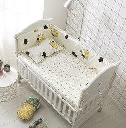 Förderung! 6 PCS Kuh Baby bettwäsche sets 100% baumwolle krippe babybett bettwäsche paket, baby bettwäsche (stoßstangen + blatt + kissen abdeckung)