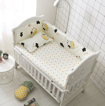 Promotion! 6PCS Cow Baby Bedding Sets 100% Cotton Crib Cot Bedding Package, Baby Bedclothes  (bumpers+sheet+pillow Cover)