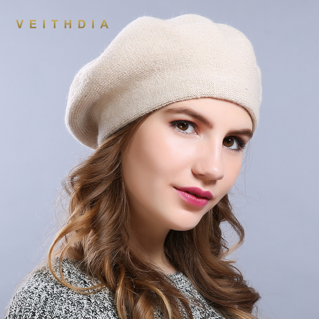 75549cf20a6796 VEITHDIA Winter Hat Berets 2018 New Wool Cashmere Womens Warm Brand Casual  High Quality Women's Vogue Knitted Hats For Girls Cap