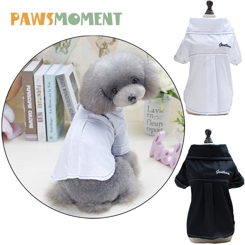 2018 New White Black Leisure Pets Shirt Spring Summer Dog Clothes for Small Dogs Chihuahua French Bulldog Clothing Pug Outfit