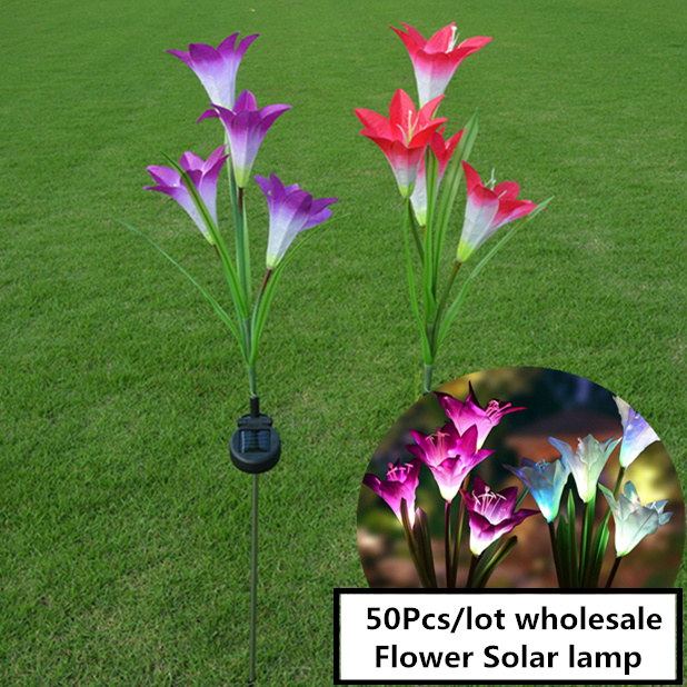 50PCS/LOT Family Solar Lights Lily Flower Light waterproof IP65 Romantic decoration Lamp Colorful LED gradient light sources