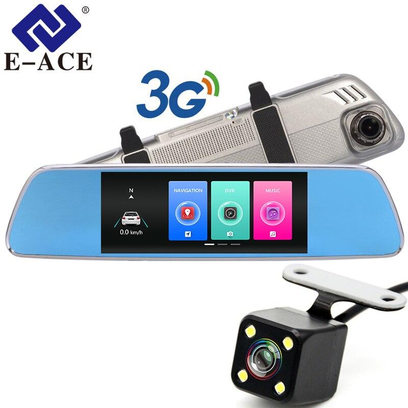 E-ACE 3g Voiture Dvr 7 pouce Tactile Rétroviseur Caméras Android 5.0 GPS Bluetooth Mains Libres WIFI FHD 1080 p 16g Vidéo Enregistreur