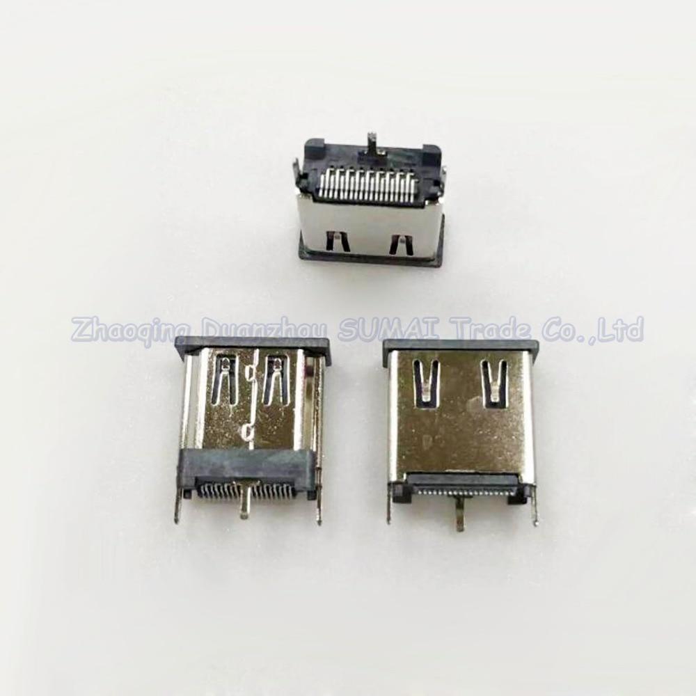 10pcs HDMI Jack 19P Female Socket HDMI Vertical SMT with three fixed feet 15.0H
