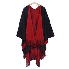 Frauen Strickjacken Solide Schals Gestrickte Poncho Decke Übergroßen Reversible Umgekehrt Seitige Schal Quaste Mode Poncho Und Capes