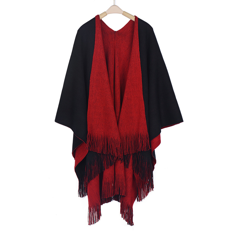 Women Cardigans Solid Shawls Knitted Poncho Blanket Oversized Reversible Reversed Sided Scarf Tassel Fashion Poncho And Capes