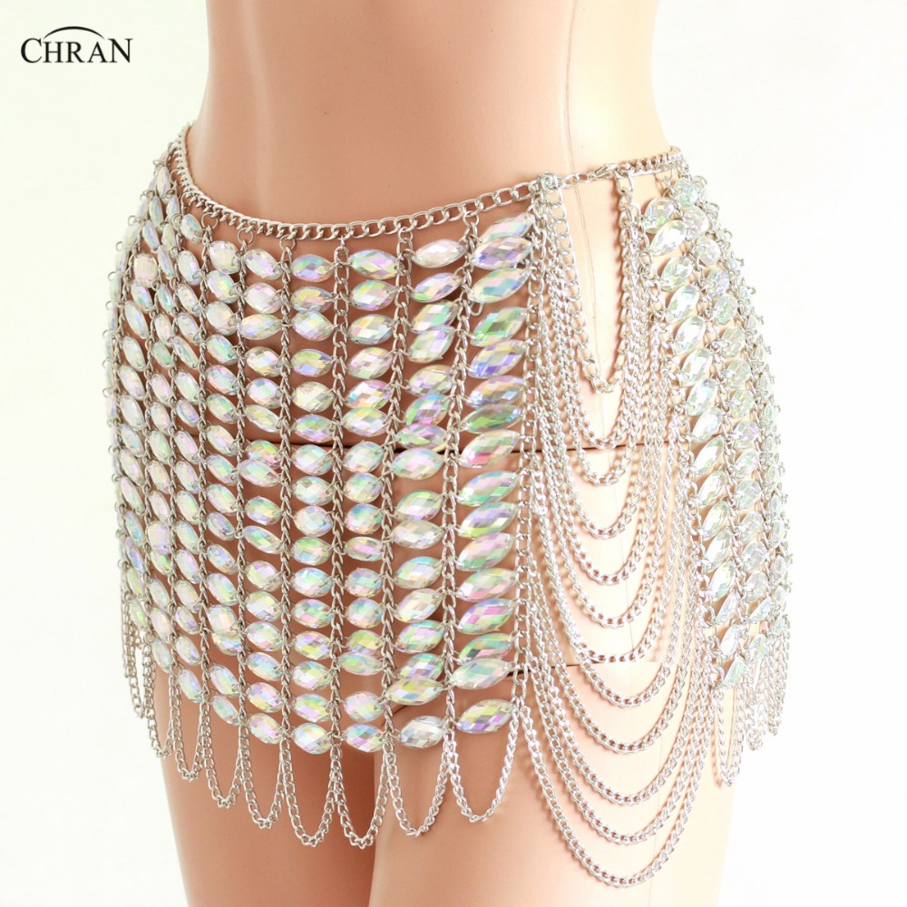 Chran Silver Gem Stone Skirt Belly Dancer Waist Belt Chain Harness Necklace Bra Bralete Festival Dress Wear Ibiza Jewelry CRS409 dancer feather faux pearl waist belt chain