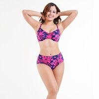 2018 Women Plus Size Bikini Set Push Up High Waisted Print Swimsuit Big Chest 4XL Swimwear