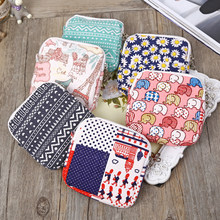 1PC 8 Colors Zipper Sanitary cute Bags Storage Coin Purse Female Hygiene Sanitary Napkins Package Small Cotton Storage Bag(China)
