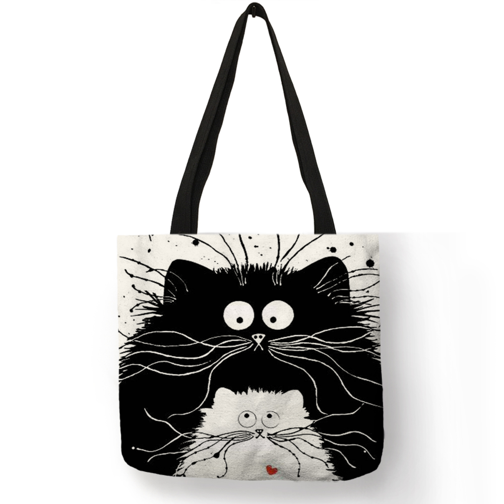 Customized Cute Cat Printing Women Handbag Linen Tote Bags with Print Logo Casual Traveling Beach Bags 7