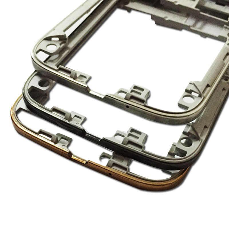 Asli Baru Bezel Tengah Kembali Perumahan Dengan Daya Volume Tombol Kunci Untuk Samsung Galaxy S4 i9505 I9500 i337 Perbaikan Bagian