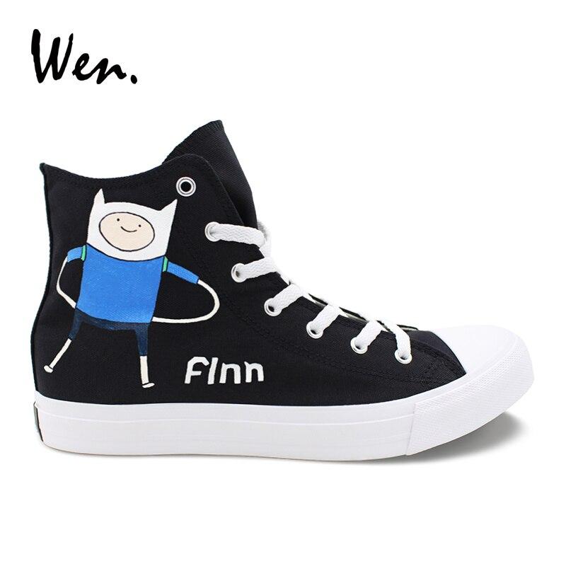 Ayakk.'ten Erkek Vulkanize Ayakkabı'de Wen El Boyalı Ayakkabı Siyah Tuval Üst Yüksek Sneakers Macera Zaman Finn Jake Tasarım Graffiti Ayakkabı Bağcıklı Düşük Topuklu Plimsolls'da  Grup 1