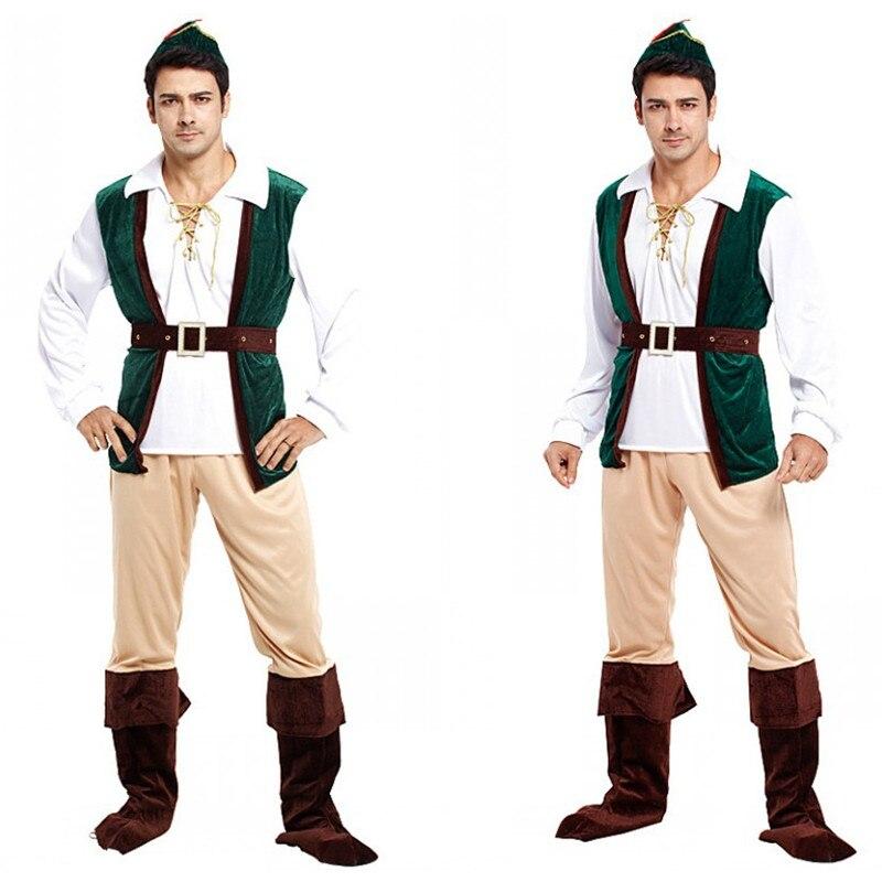 Fantasia adulto Hommes Pirate Robin Hood Cosplay Carnaval Halloween Forêt prince hunter Costume Pourim Mascarade De Noël tissu