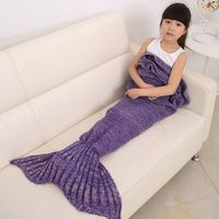 Happy Gifts High Quality Children Throw Bed Wrap Sleeping Bag Four Colors Knitted Mermaid Tail Blanket Handmade Crochet Hot Sale