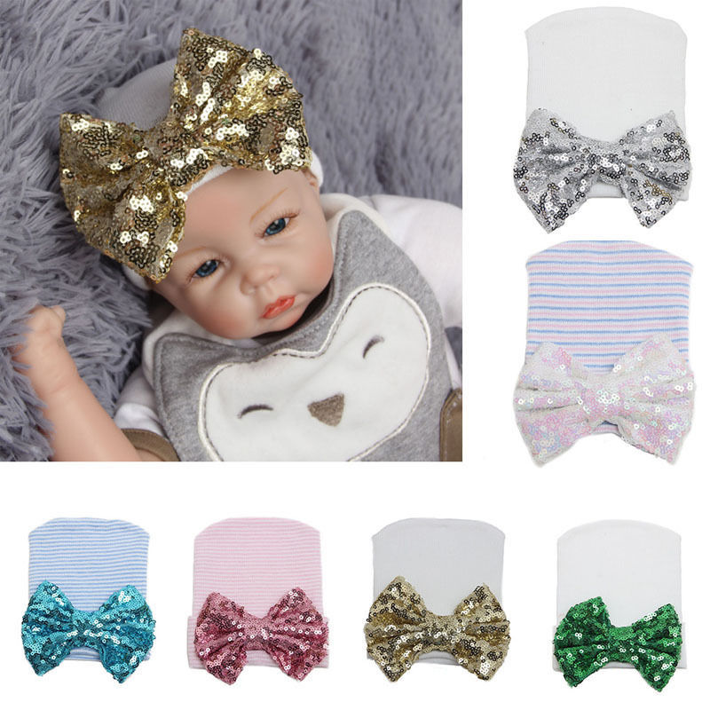 PUDCOCO 2017 Newest Newborn Baby Girls Infant Stripe Sequined Bowknot Beanie Hat Knit Hospital Autumn Caps цена