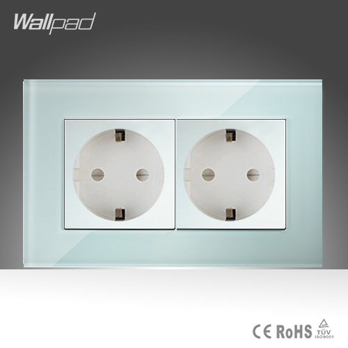 Double 16A EU Socket Wallpad White Crystal Glass EU European German Standard Wall Socket Free Shipping