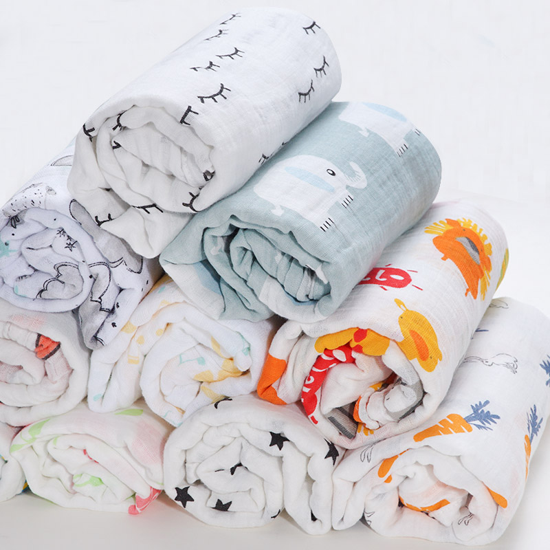 2019 Brand New Cotton Baby Blankets Newborn Kids Muslin Swaddle Wrap Sleeping Bags Baby Carriage Pram Cradle Car Accessories