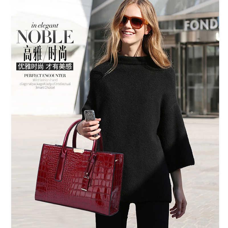 Модные женские туфли сумки Элитный бренд сумка для женщин сумки из имитации крокодиловой кожи повседневное Tote Женская кожаная WBS676