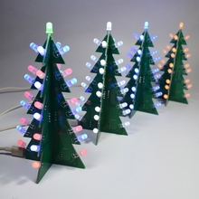 DIY Star Flashing 3D LED Decoration Christmas Tree Electronic Learning Kit 4 Colors 70mmx70mmx136mm Christmas Tree Decorations