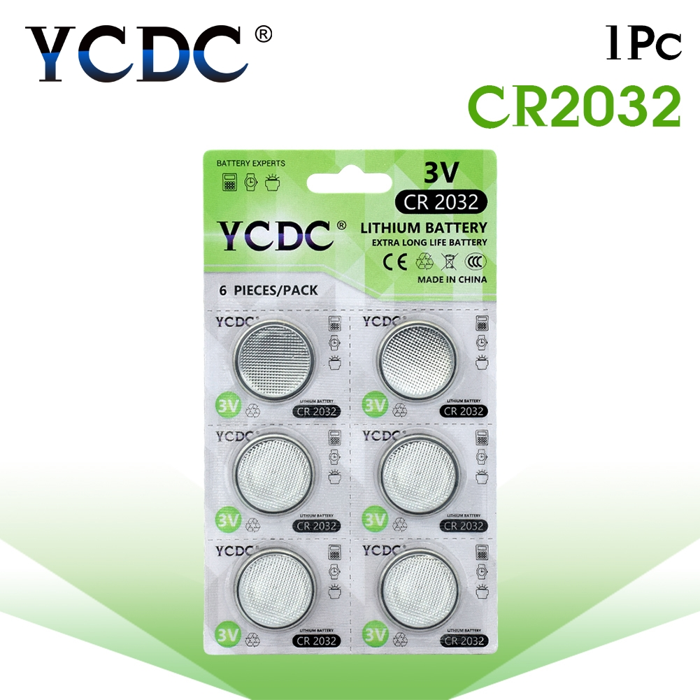 YCDC 6Pcs/card Bateria CR2032 3V Lithium Button Battery 5004LC BR2032 DL2032 ECR2032 KCR2032 Lithium Batteries For Toys Watches
