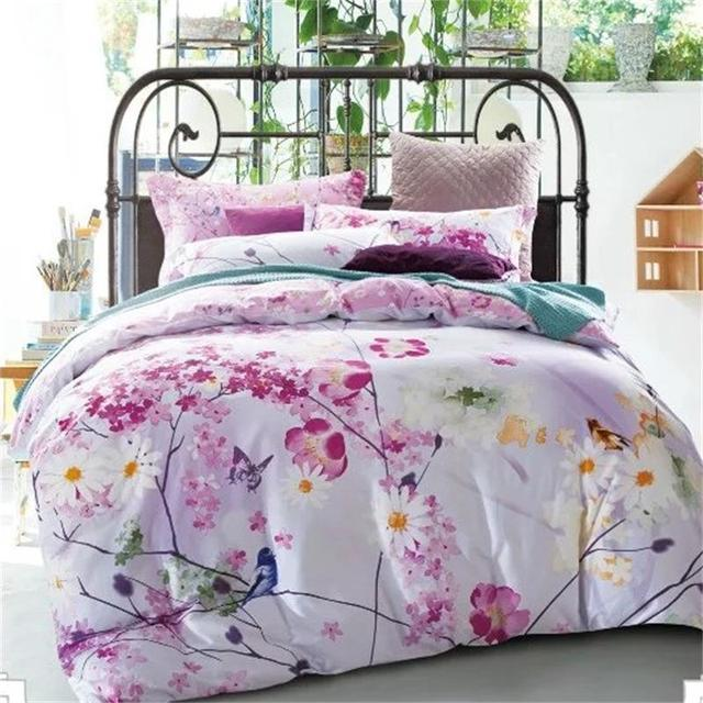 Bright Colored Flowers/Birds/Butterfly Country Style Bedding Set ...