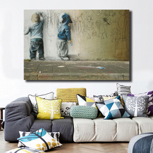Kids Drawing On Wall By Banksy Canvas Painting Print Bedroom Home Decor Modern Art Oil Poster Picture Framework HD