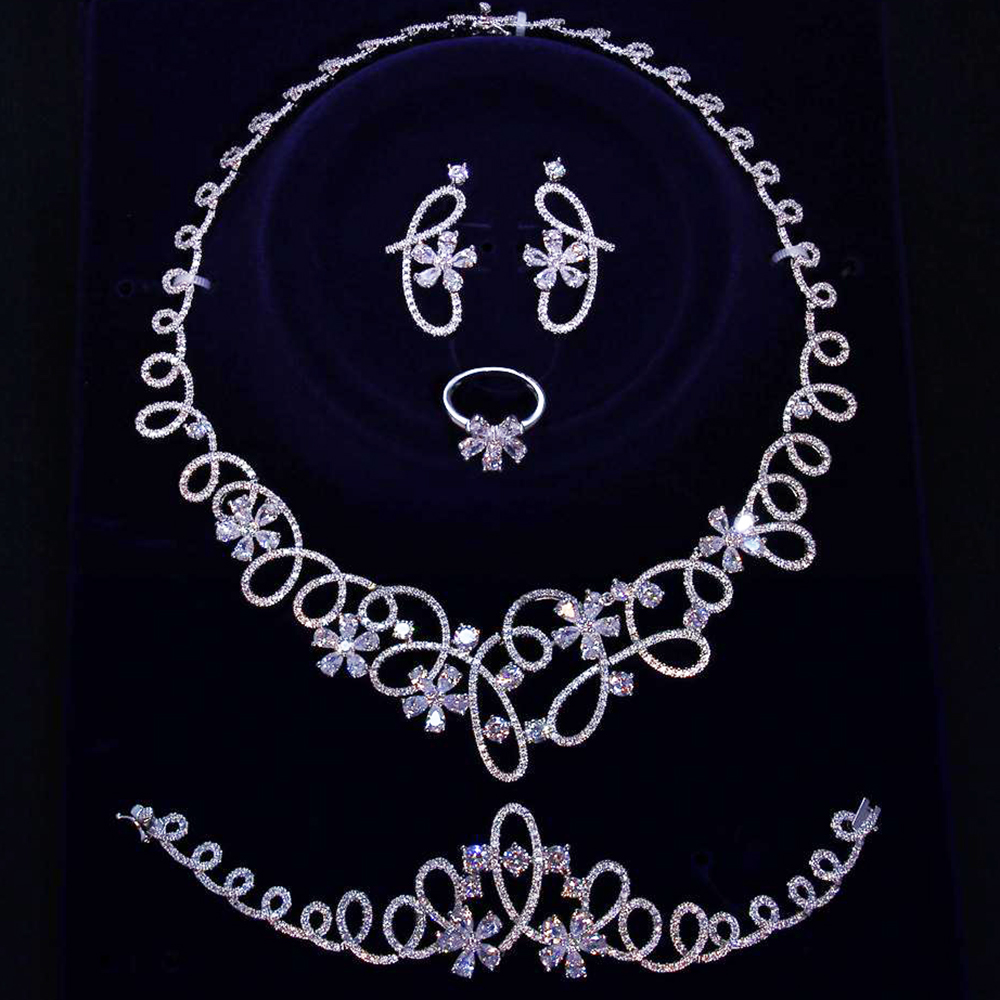 Brautiful Luxury big 4pcs jewelry set for party Necklace Earrings Bracelet Ring White Gold color Large
