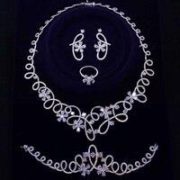 Brautiful роскошный большой 4 комплект ювелирных изделий для вечеринки ожерелье + серьги + браслет + кольцо белый/золотой цвет большой цветок юве